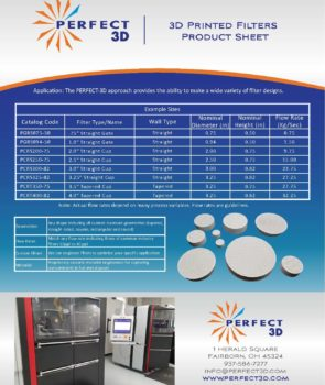 P3D Printed Filters Product Sheet 2020